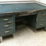 ANTIQUE METAL STEEL DESK STEAMPUNK INDUSTRIAL BRASS DECO