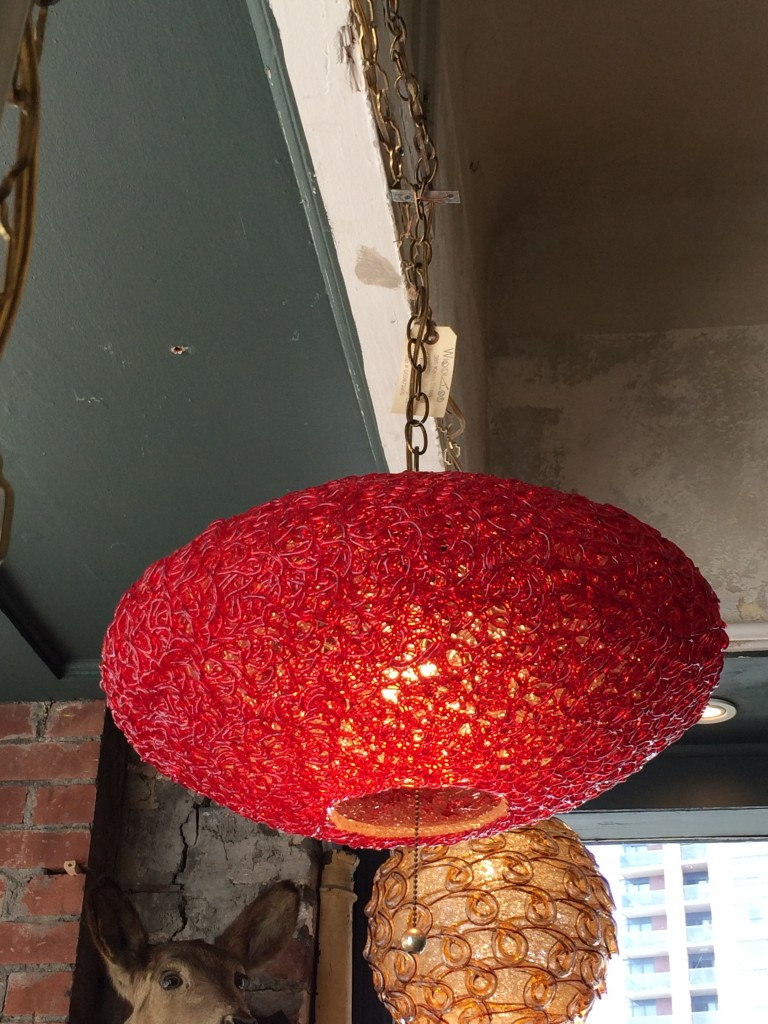 swag red lucite spaghetti ceiling light