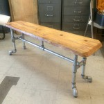 RUSTIC RECLAIMED SALVAGED WOOD AND PIPE BENCH