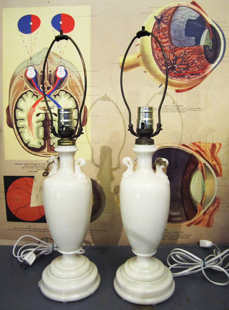 1940's oyster glass lamp pair table