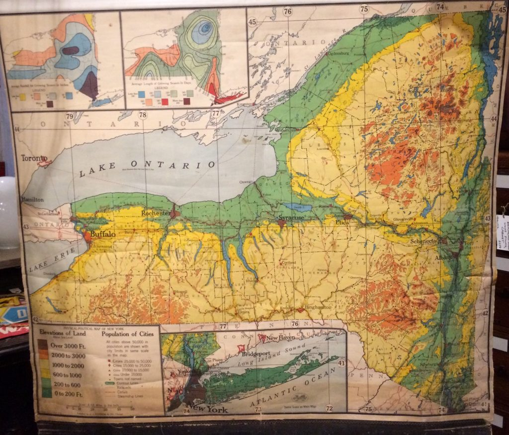 Antique AJ Nystrom & Co Pull-Down Map of New York - Williams ...