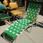 GREEN AND WHITE OUTDOOR LOUNGER