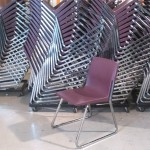 LARGE QUANTITY MAROON CHAIRS WITH SLEIGH BASE