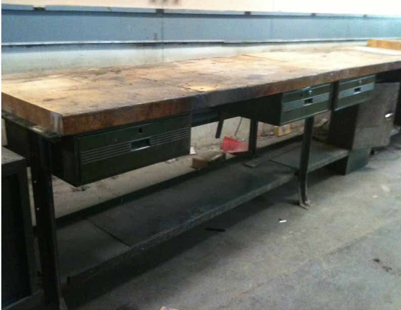 Industrial Work Table Bench With Green Drawers