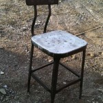 industrial seating mid-century steampunk steel stool
