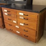 WOODEN MULTI-DRAWER CABINET WITH BLACK TOP