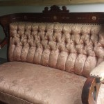 CHERRY WOOD TUFTED SOFA
