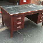 industrial steel desk woodgrain