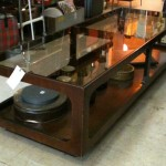 MID-CENTURY TEAK COFFEE TABLE WITH GLASS