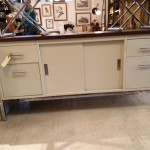 White Mid-Century Modern Office Credenza Metal